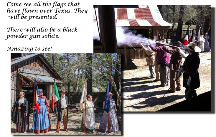composite picture of black powder gun salute and period dressed person with the flags that have flown over Texas